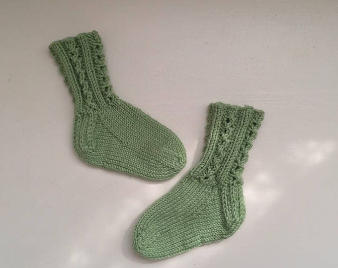 Merino and Cashmere Baby Socks, Hand Knit Baby Socks, Green Socks