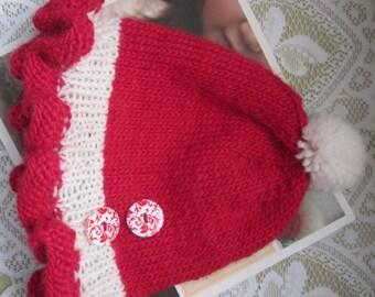 Red Ruffle Hat, Little Girl Warm Winter Hat