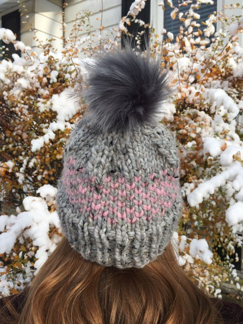 2a68db79295 Chunky Knit Fair Isle Hat Grey Pink OR Pink Grey Knit Hat