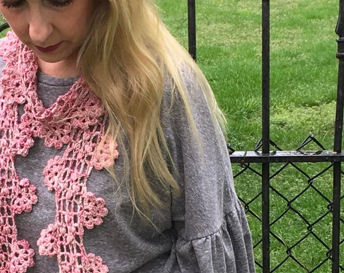Pink Cascading Blossoms Crocheted Lace Scarf, Springtime Scarf, Summer Scarf