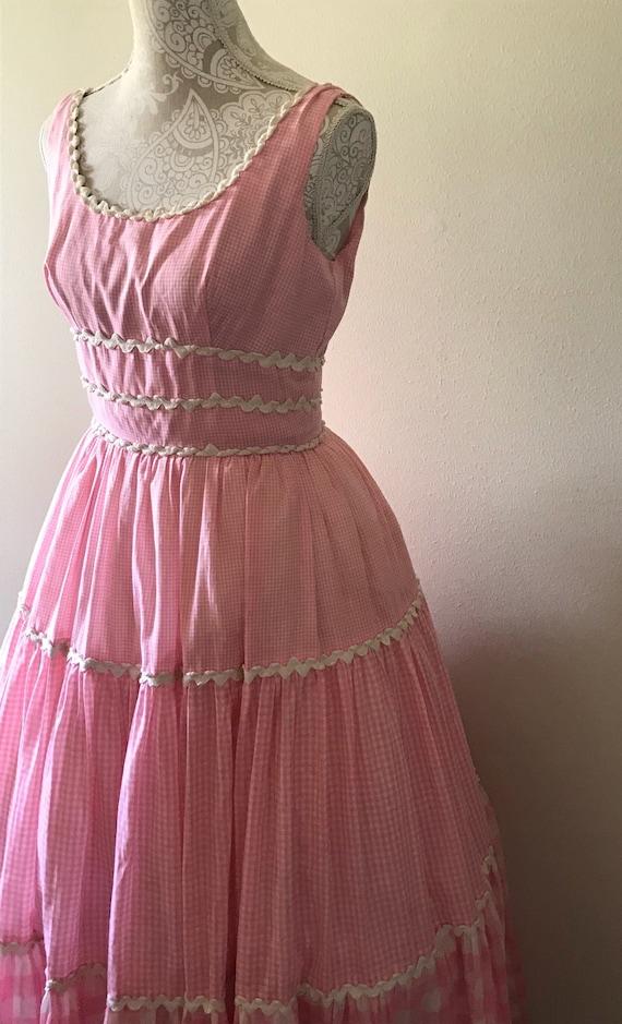 1950's pink gingham dress