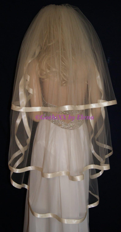 Wedding Veil Waltz Knee Black Red Purple Pink Lavender Blush Antique Gold Beige 3 tiers 72 width 30 40 50 length wide satin ribbon edge