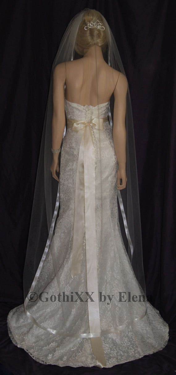 "Wedding Bridal  Veil Chapel 108/"" Width 90/"" Length Ribbon Edge Crystals 30 Colors"