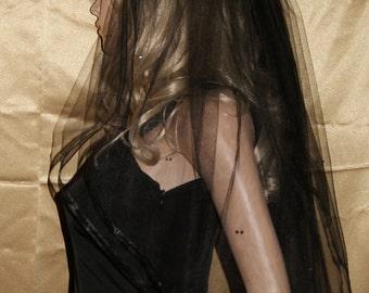"Gothic Black Elbow wedding veil costume  mourning two tiers 54"" width 28"" length  Organza ribbon swarovski rhinestone embellishment"
