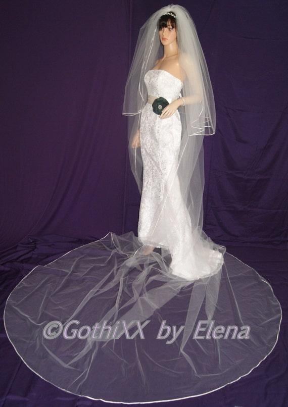 "Wedding Veil Royal Cathedral 2 Tier 108/"" Width  28/"" 184/"" length Ribbon Edge"