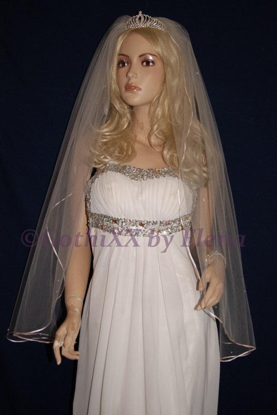 "Wedding Veil Fingerti SingleTier 108/"" Width 40 Length Crystals Satin Ribbon Edge"