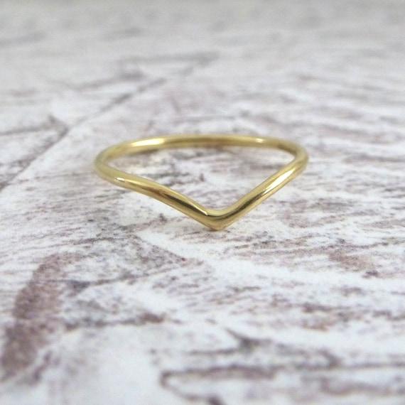 9 Ct Oro Amarillo Wishbone Anillo Boda Compromiso Anillo Banda señoras 1.5 mm