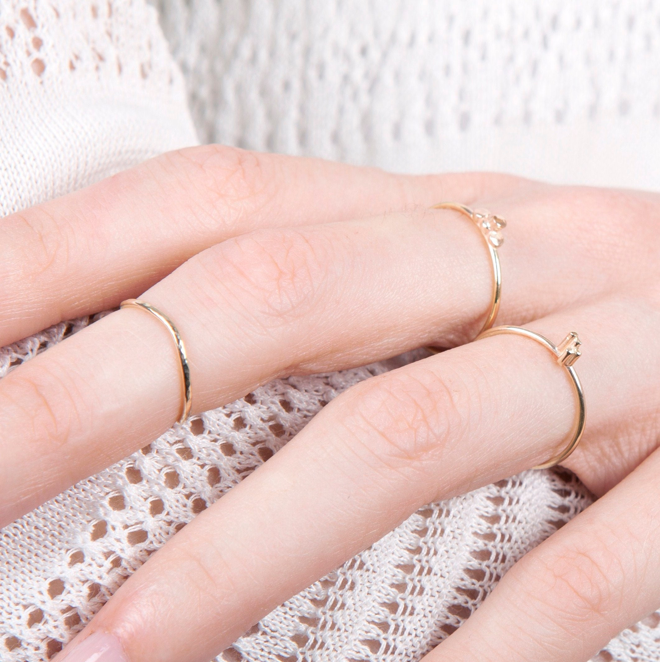 Gold Midi Ring Hammered 9ct Yellow Gold | Etsy