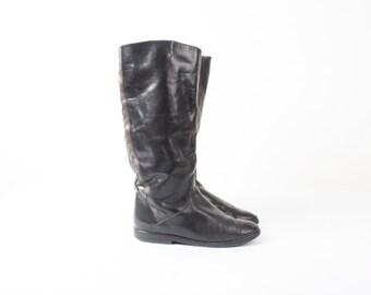 52fedf9efce87 Vintage Basic Black Leather High Boots / Flat Boots Flats / | Etsy