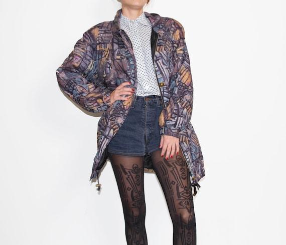 Vintage violet parka / violet coat / 1980s parka /
