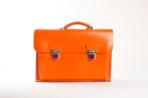 Vintage Orange Leather Briefcase / Strong Orange S
