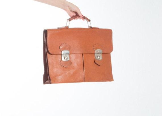 Vintage Cognac Brown Leather Briefcase / 1970s 70s
