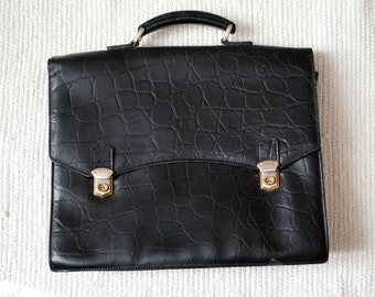 Vintage faux leather briefcase handbag