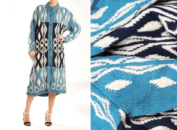 Vintage Blue Knit Knitted Long Coat Maxi Coat Card