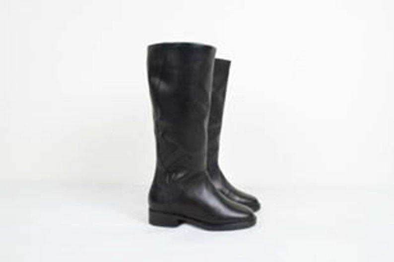 583bafa2061a8 Vintage Basic Black Leather High Boots / Flat Boots Flats / Deadstock  Winter Boots / 1980s 80s Boots / Women's Size EU 36 US 6 UK 3.5