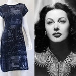 Hedy Lamarr Dress, Wifi Blueprint Dress, Women in STEM Dress