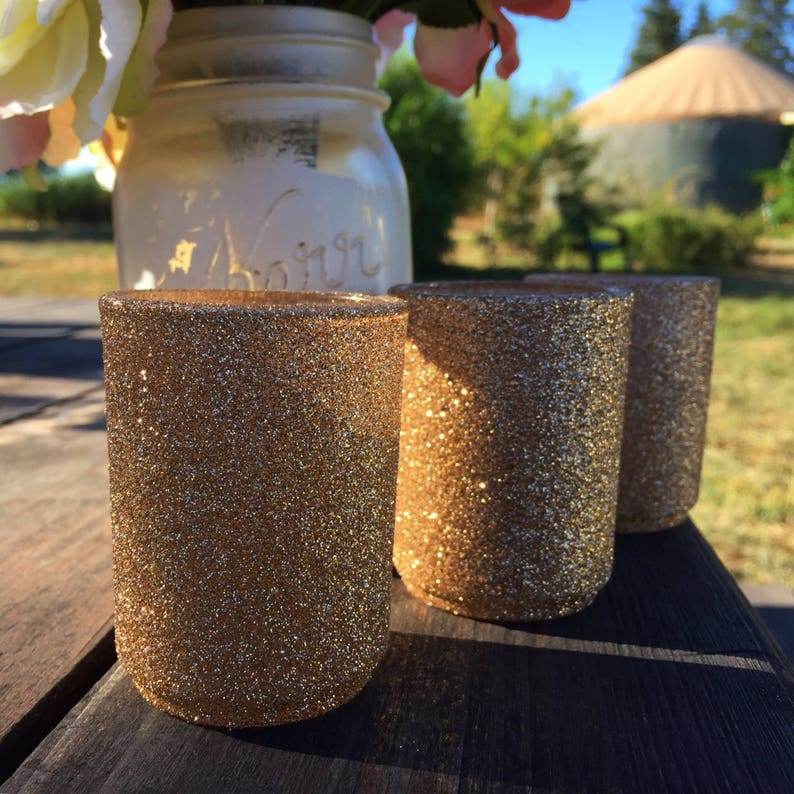 Champagne Glitter Votive Holders image 0
