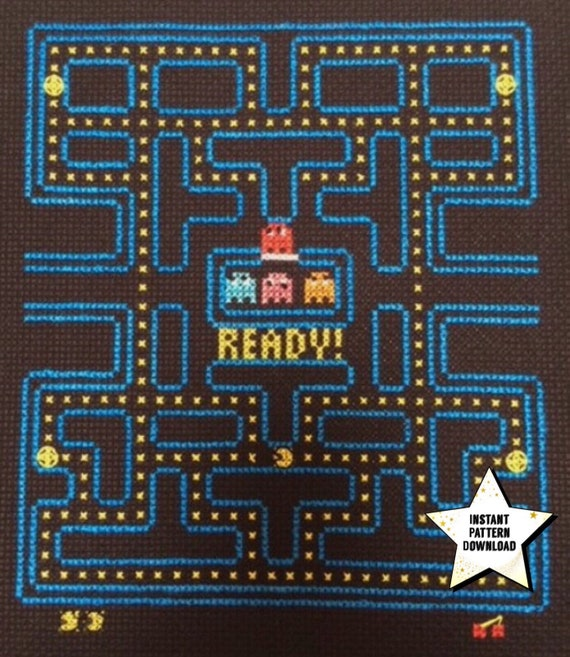 PacMan Video Game Cross Stitch And Backstitch Pattern Pattern Etsy New Pacman Pattern
