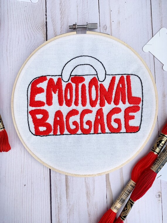 ee318fc226d7 Finished Emotional Baggage Embroidery Red Gym Bag Design