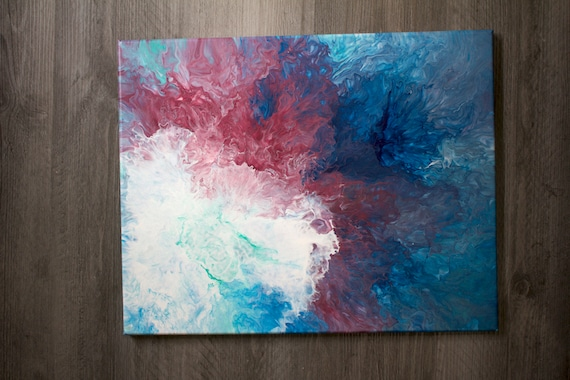 20x20 Original Acrylic Pour Painting on Canvas For Sale Blue Violet Bronze and White
