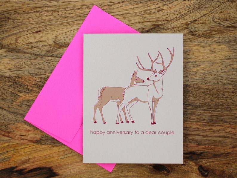 anniversary card deer dear couple  etsy