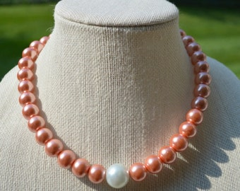 Copper and White Pearl Necklace, Bridesmaid's Necklace, Wedding Jewelry