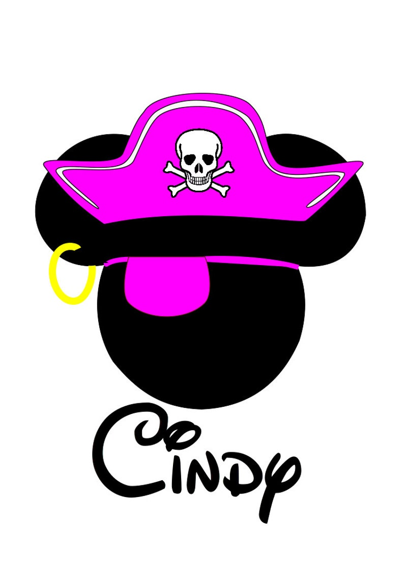 ea05d9e921509 Custom Personalized Minnie Pink Pirate Hat Iron on Transfer