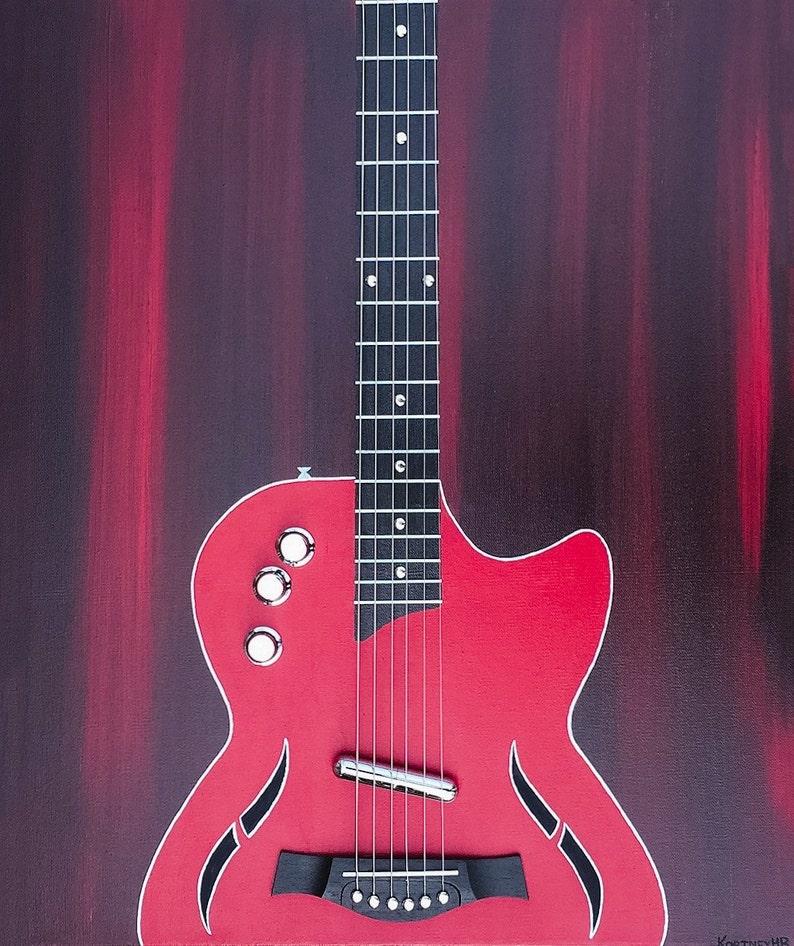 Electric Guitar Wall Art Painting Guitar Abstract Art Electric Guitar Painting With Actual Guitar Strings And Real Bridge