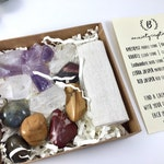 Meditation Crystal Healing Kit.  Spiritual New Age Crystal Gift Box. Under 25 Ready to Gift Tumbled Stones Set. Anxiety Relief Crystals