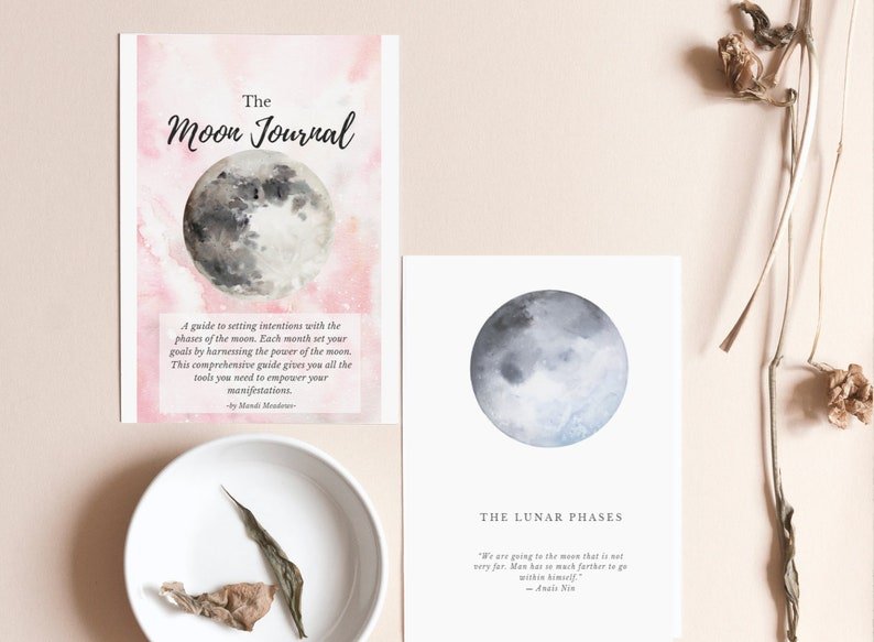 Printable Moon Journal. Moon Phase Guide Workbook. Manifesting image 0
