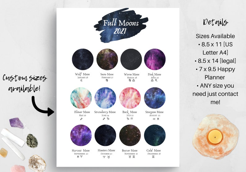 2021 Printable Full Moon Names Calendar. Celestial ...