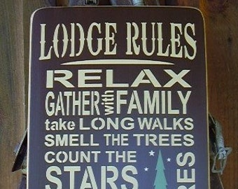 Wood Sign, Lodge Rules, Watch The Wildlife, Cabin Decor, Cabin Sign
