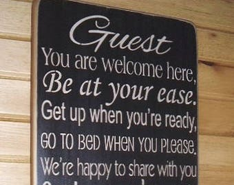 Guest Sign, Guest Home Decor, Be Our Guest, Guest Bedroom Decor, Guest Wall Decor, Guest Room Sign, Guest Wall Art, Home Decor,  Wood Signs