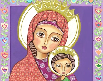Folk Art  Painting, Madonna and Child, Print  (8 x 10 inch, ), Mixed Media, Wall Decore by Evona