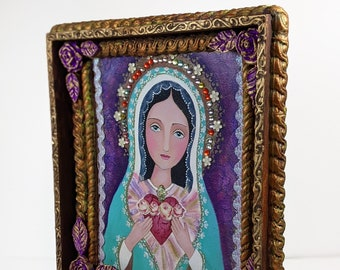 Religious Icon, The Immaculate Heart of Mary, Heart of Mercy, El corazón Inmaculado de María, by EvonaGallery