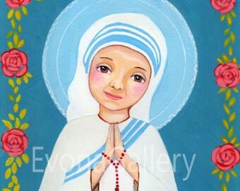 St. Mother Teresa of Calcutta, Christian art, art print, wall decor, patron, saint, Baptist gift, confirmation gift,