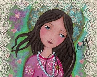 Blessed Virgin Mary, Print Of Original Art ,Mix Media , Rosary , children art, wall art Folk Art, Wall Decore by Evona