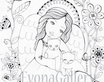 INSTANT DOWNLOAD Digi 1 Coloring page , Digital Image Angel with cats ~ Image No. 5 by Evona