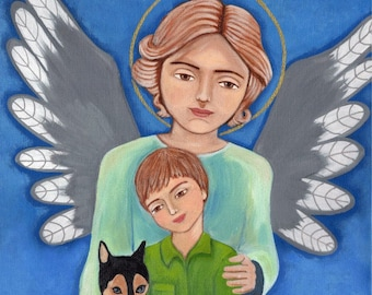Guardian Angel with the boy, Print, Mixed Media, religious present, gift Wall Decore by EvonaGallery