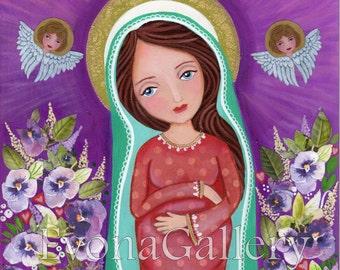Mary, Mother of Hope, beauty and art- Giclee print, Mixed Media, Catholik Painting Acrylik Folk Art, Virgin Marry, Wall Decore by Evona