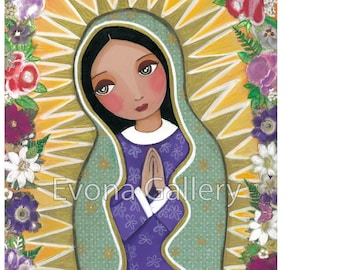 Our Lady of Guadalupe, La Virgen De Guadalupe, Catholic Art, Christian Painting, Print, Mixed Media by Evona