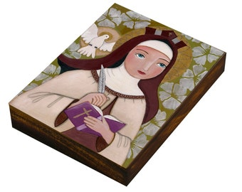 Folk Art  Painting, Saint Teresa of Jesus, Teresa of Ávila, Print on Wood Panell, Mixed Media, Wall Decore by Evona