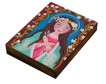 St Philomena, Patron, Catholic gift,Print on Wood, Mixed Media, Wall Decore by Evona