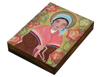Saint Bernadette with Rosary, Art  Painting, Print Mounted On the Wood Panel, Mixed Media, Wall Decore by Evona