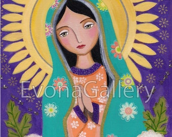 La Virgen Morena Guadalupe Our Lady of Guadalupe mother print wall decor gift present painting love folk art Mixed Media by Evona