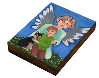 Guardian Angel with the boy, wood Panel, size 4 x 6 inch, Mixed Media print Folk Art by Evona