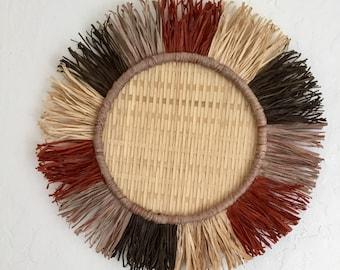 Basket, Wall Decor, Boho Decor, Handmade, Bamboo, Organic, Fringe, Unique, Raffia, Textured, Minimalist, Home Decor, Wall Art