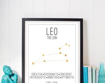 Leo Constellation Zodiac Traits Gold Foil Print