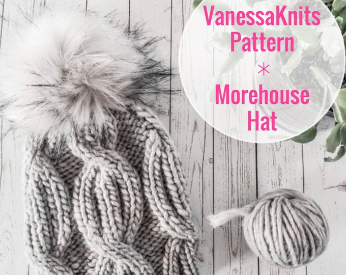 Featured listing image: KNITTING PATTERN - The MOREHOUSE Hat // Cabled Toque - Beanie // Includes Written & Charted Instructions // Level: Easy+