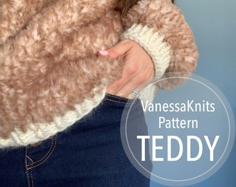 KNITTING PATTERN -  Girls & Women's TEDDY Sweater // Seamless Top-Down Pullover // Written Instructions // Faux Fur // Oversized Fit
